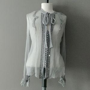 BCBGMAXAZRIA sheer silk blouse